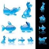 комплект иконы животных кристаллический Стоковое Фото