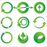комплект иконы зеленого цвета элемента конструкции круга стрелки Стоковые Изображения RF