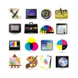 комплект иконы конструкции графический Стоковые Изображения RF