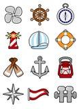 комплект иконы морской Стоковая Фотография RF