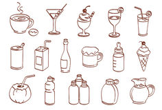 комплект иконы напитка Стоковое Изображение RF