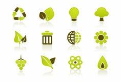 комплект иконы окружающей среды зеленый Стоковое Изображение