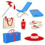 комплект иконы пляжа Стоковые Изображения RF