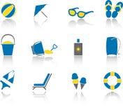комплект иконы пляжа Стоковое Изображение RF