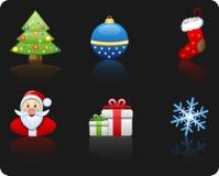 комплект иконы рождества предпосылки черный Стоковые Фотографии RF
