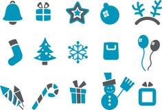 комплект иконы рождества иллюстрация вектора