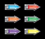комплект иконы стрелки лоснистый Стоковая Фотография RF