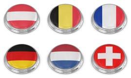 Комплект иконы флага нации Стоковая Фотография RF