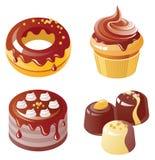 комплект иконы шоколада Стоковая Фотография