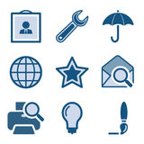 комплект иконы 9 син Стоковое Изображение RF