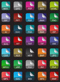 Комплект икон дополнения к файлу Стоковое Изображение