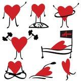 комплект икон здоровья кардиологии медицинский Стоковые Изображения RF