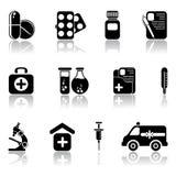 комплект икон медицинский Стоковая Фотография