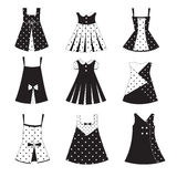 Комплект икон платья девушки малыша Стоковые Изображения RF