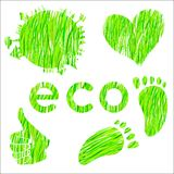 Комплект икон с окружающей средой текстуры зеленой травы Стоковое Фото
