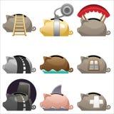 комплект икон piggy Стоковые Изображения