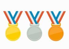 Комплект иллюстрации вектора медалей бесплатная иллюстрация