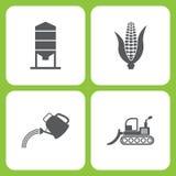 Комплект иллюстрации вектора простых значков фермы и сада Зернохранилище элементов, мозоль, моча чонсервная банка, бульдозер иллюстрация штока