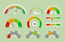 Комплект иллюстрации вектора спидометров измеряя значки Собрание индикаторов с различными указателями в плоском шарже иллюстрация штока