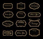 Комплект иллюстрации вектора украшений орнаментов года сбора винограда конструирует элементы Ретро и античные рамки, ярлыки, эмбл иллюстрация вектора