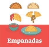 Комплект иллюстрации вектора Empanadas показывая заполнять и соус Бесплатная Иллюстрация