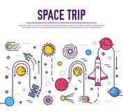 Комплект иллюстрации вселенной огромного космоса infographic Летание ракеты космического пространства вверх по отключению в солне иллюстрация вектора