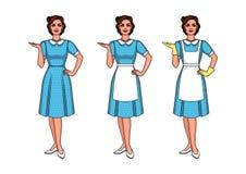 Комплект иллюстрации красивой женщины стоя передний Иллюстрация вектора