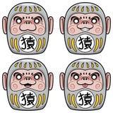 Комплект иллюстрации куклы обезьяны Daruma Стоковые Фотографии RF