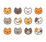 комплект иллюстрации руки котов милый нарисованный иллюстрация вектора