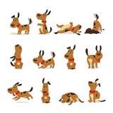 комплект иллюстрации собаки шаржа графический Фокусы собак и вектор бежать и лаять спать корма для домашних животных еды грязи де бесплатная иллюстрация