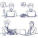 Комплект иллюстрации шаржа бизнесмена Сидя сцены Стоковое фото RF