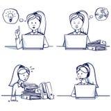 Комплект иллюстрации шаржа бизнес-леди Стоковые Изображения