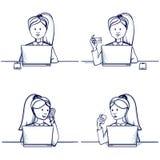 Комплект иллюстрации шаржа бизнес-леди Стоковые Изображения RF