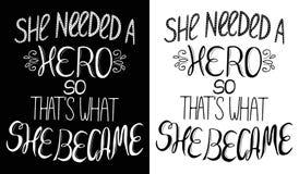 Комплект 2 иллюстраций, вдохновляющий феминизм закавычит иллюстрация вектора