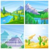 Комплект иллюстраций ландшафта вектора Горы, зеленые холмы и взгляд лугов, пустыни и вулканов иллюстрация штока