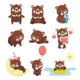Комплект иллюстраций с медведями Стоковые Фото