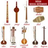 Комплект индийских музыкальных инструментов, плоский стиль вектора Стоковая Фотография