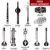 Комплект индийских музыкальных инструментов, плоский стиль вектора Стоковое Изображение RF