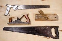 Комплект инструментов для работы на тимберсе Плоский взгляд Стоковые Фотографии RF