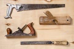 Комплект инструментов для работы на тимберсе Плоский взгляд Стоковое Изображение