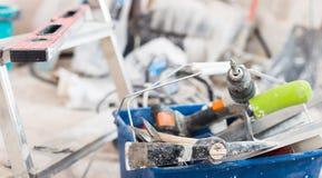 Комплект инструментов конструкции для ремонтировать предпосылки Стоковое Изображение