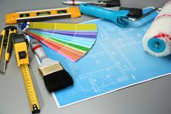 Комплект инструментов ` s оформителя и чертежа проекта Стоковые Фото