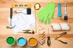Комплект инструментов ` s оформителя и чертежа проекта Стоковые Изображения