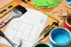 Комплект инструментов ` s оформителя и чертежа проекта Стоковые Фотографии RF