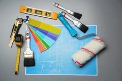 Комплект инструментов ` s оформителя и чертежа проекта Стоковое Изображение RF
