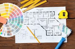 Комплект инструментов ` s оформителя и чертежа проекта Стоковое Изображение