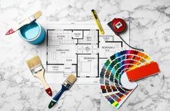 Комплект инструментов ` s оформителя и чертежа проекта Стоковая Фотография RF