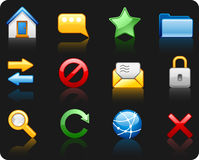 комплект интернета иконы предпосылки черный Стоковые Изображения RF