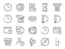 Комплект истории и значка контроля времени Включил значки как против старения, revert, приурочьте, обратите, разворот, машина вре иллюстрация штока
