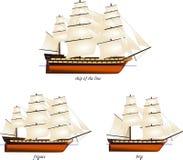 Комплект исторических деревянных военных кораблей плавания Стоковое Изображение RF